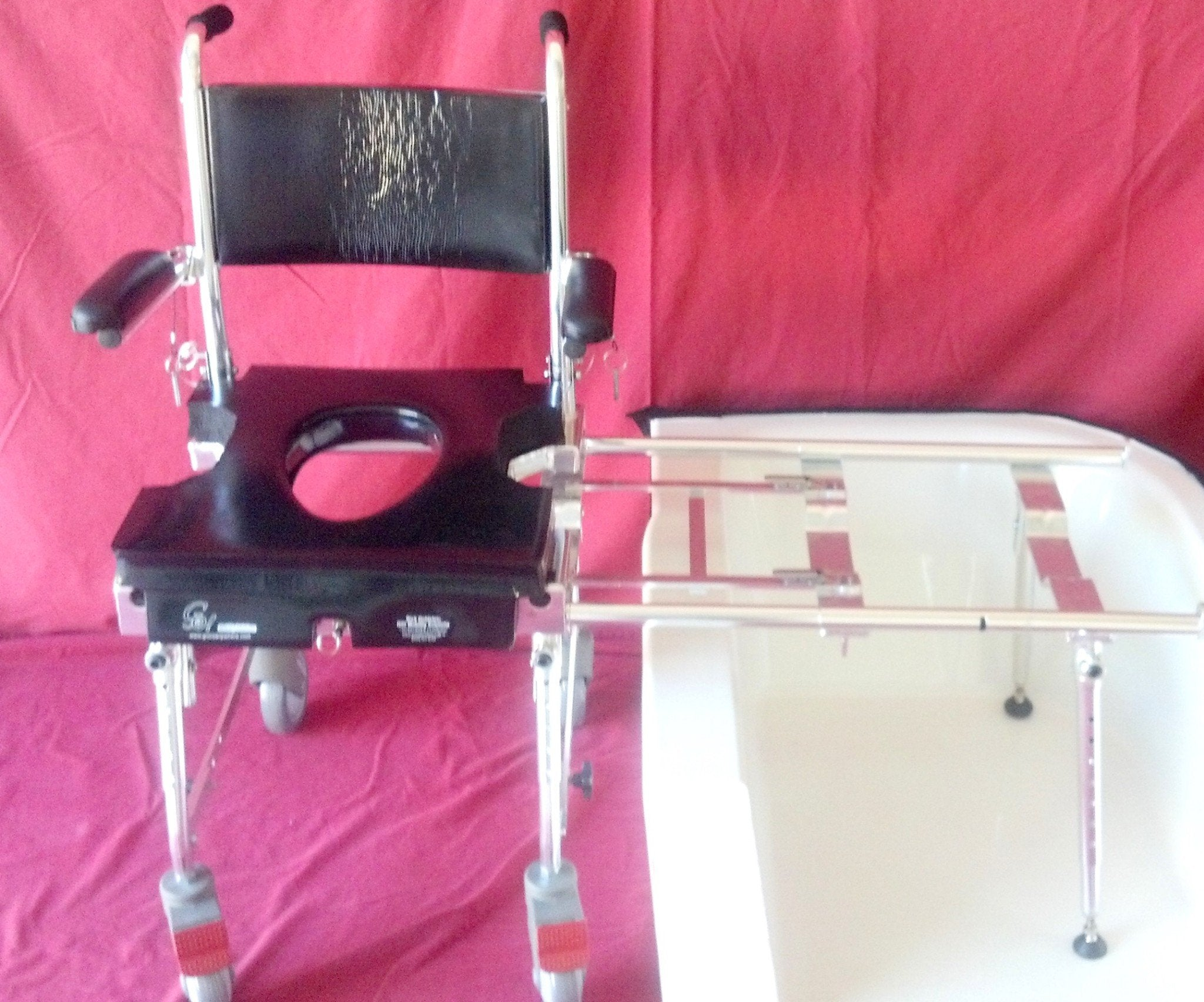Portable GO-Anywhere Commode, Shower 'n Tub Chair (CST) front view over bathtub