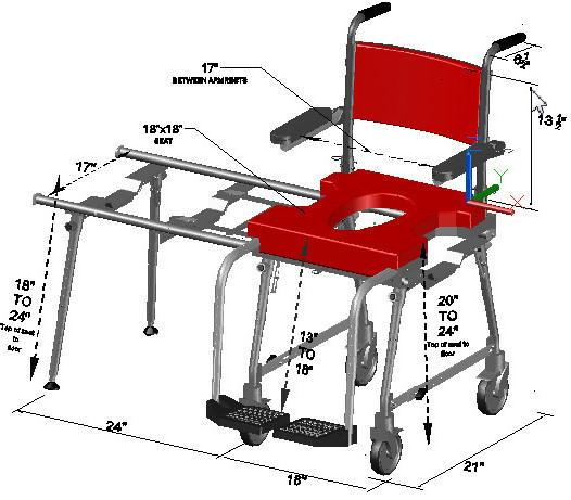 Portable GO-Anywhere Commode, Shower 'n Tub Chair (CST) dimensioned drawing