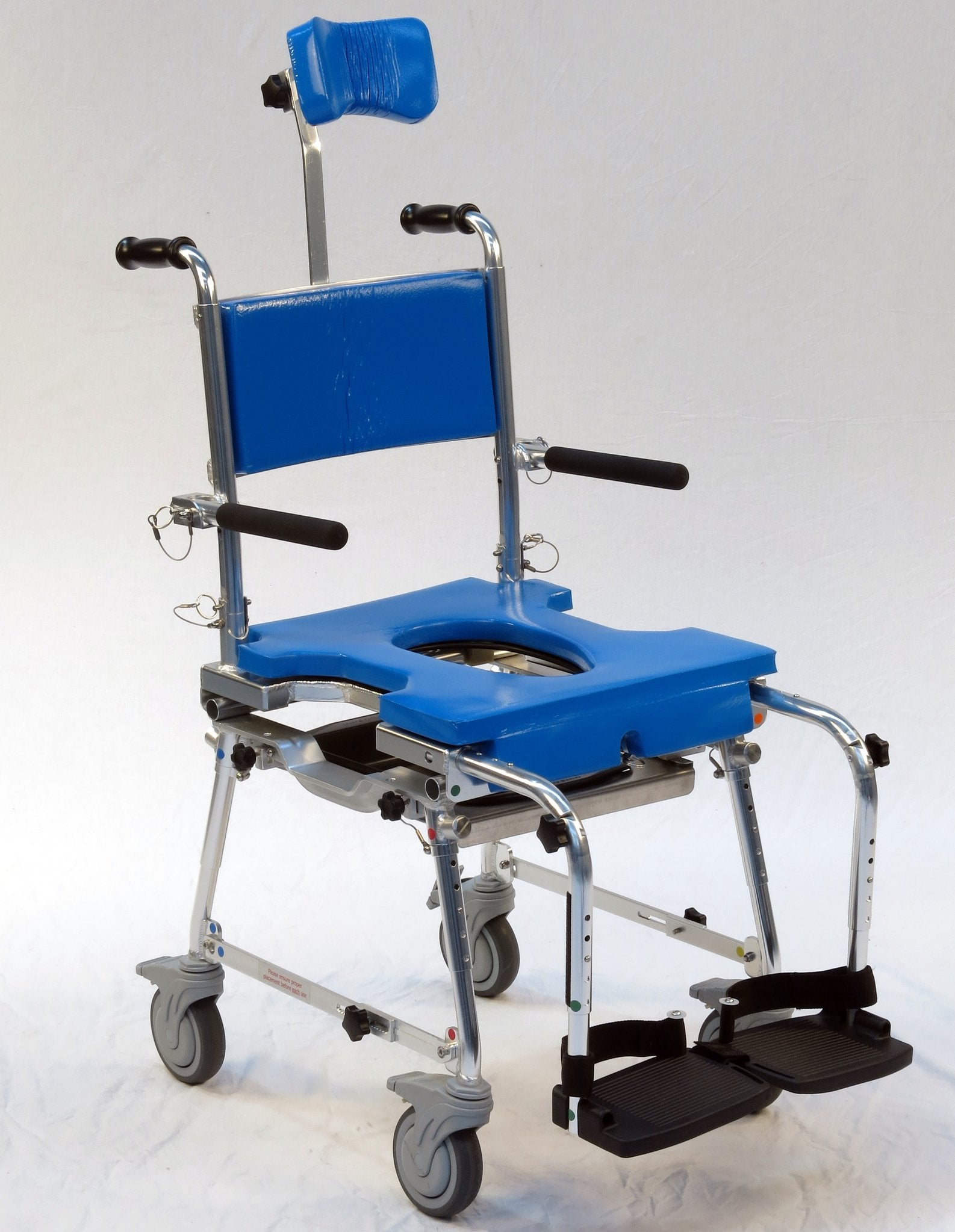 Portable GO-Anywhere Commode, Shower 'n Tub Chair (CST) Rolling Shower Chair with headrest – front view