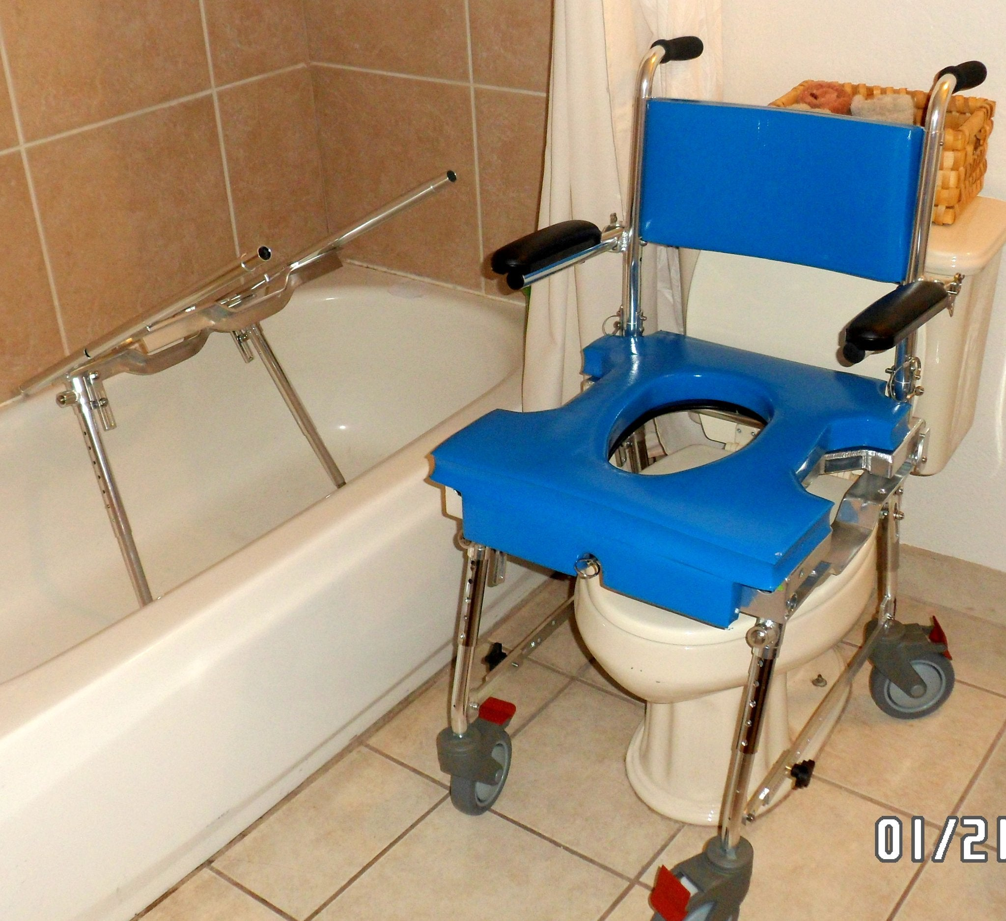 Portable GO-Anywhere Commode, Shower 'n Tub Chair (CST) Tub Frame separated from Rolling shower chair