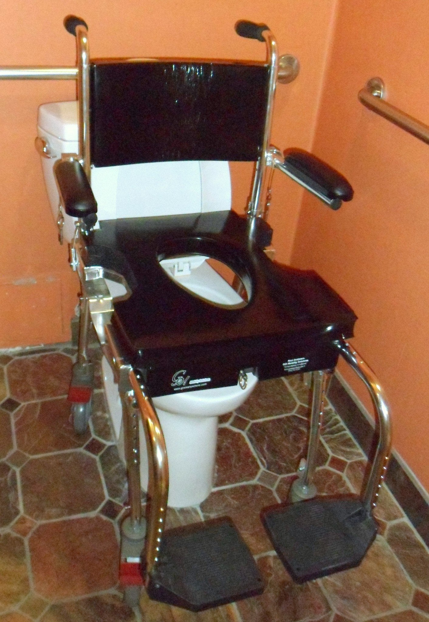 Portable GO-Anywhere Commode, Shower 'n Tub Chair (CST) over a toilet