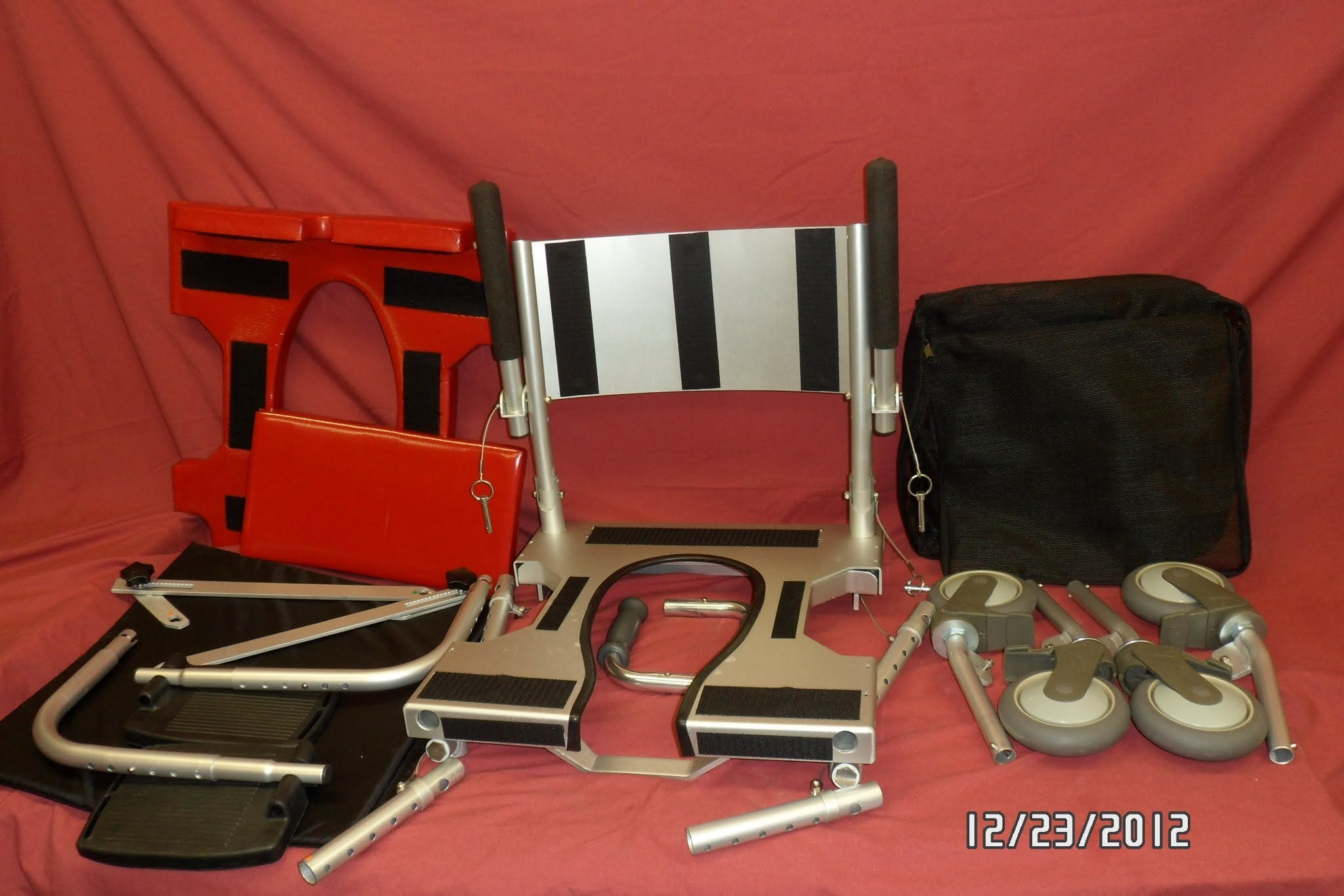 Portable GO-Anywhere Commode 'n Shower Chair (CS) all parts broken down and on display