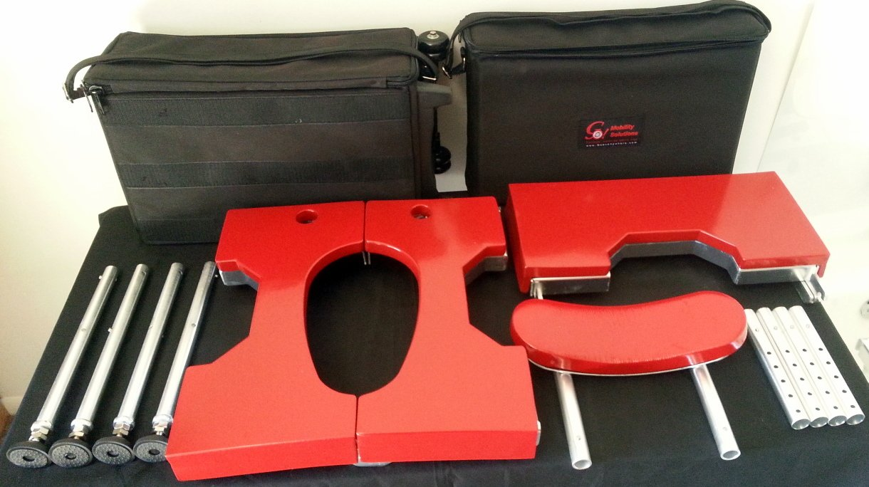 Portable GO-Anywhere Sport Tub Bench (SPT) all parts broken down on display