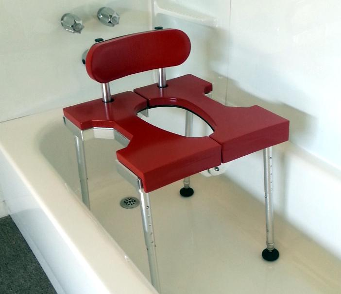 Portable GO-Anywhere Sport Tub Bench (SPT) with backrest assembled and placed in bathtub