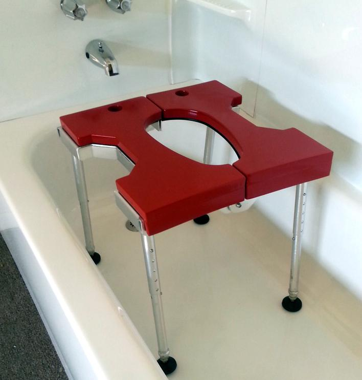 Portable GO-Anywhere Sport Tub Bench (SPT) assembled and placed over bathtub