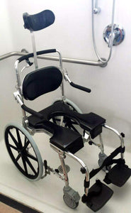 "GO-ANYWHERE COMMODE 'N SHOWER CHAIR W/ 20"" WHEELS - ADJUSTABLE (SP-A)"