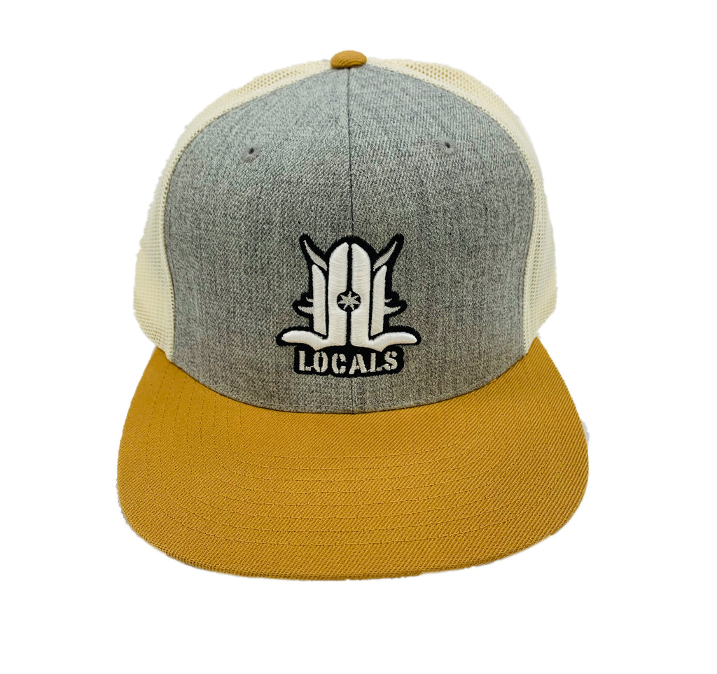 LOCALS 3D FLAT BILL TRUCKER HTR GREY/BIRCH/BISCUT