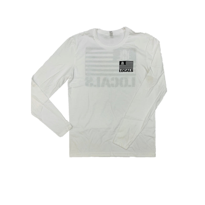 LOCALS FLAG 100% COTTON L/S CREW WHITE