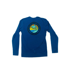 PALM BEACH COUNTY LOCALS MENS L/S 100% COTTON CREW COOL BLUE