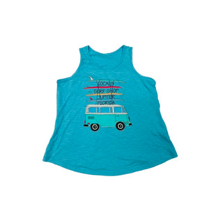 LOCALS TRAVELING BUS GIRLS FLOWY TANK TAHITI BLUE