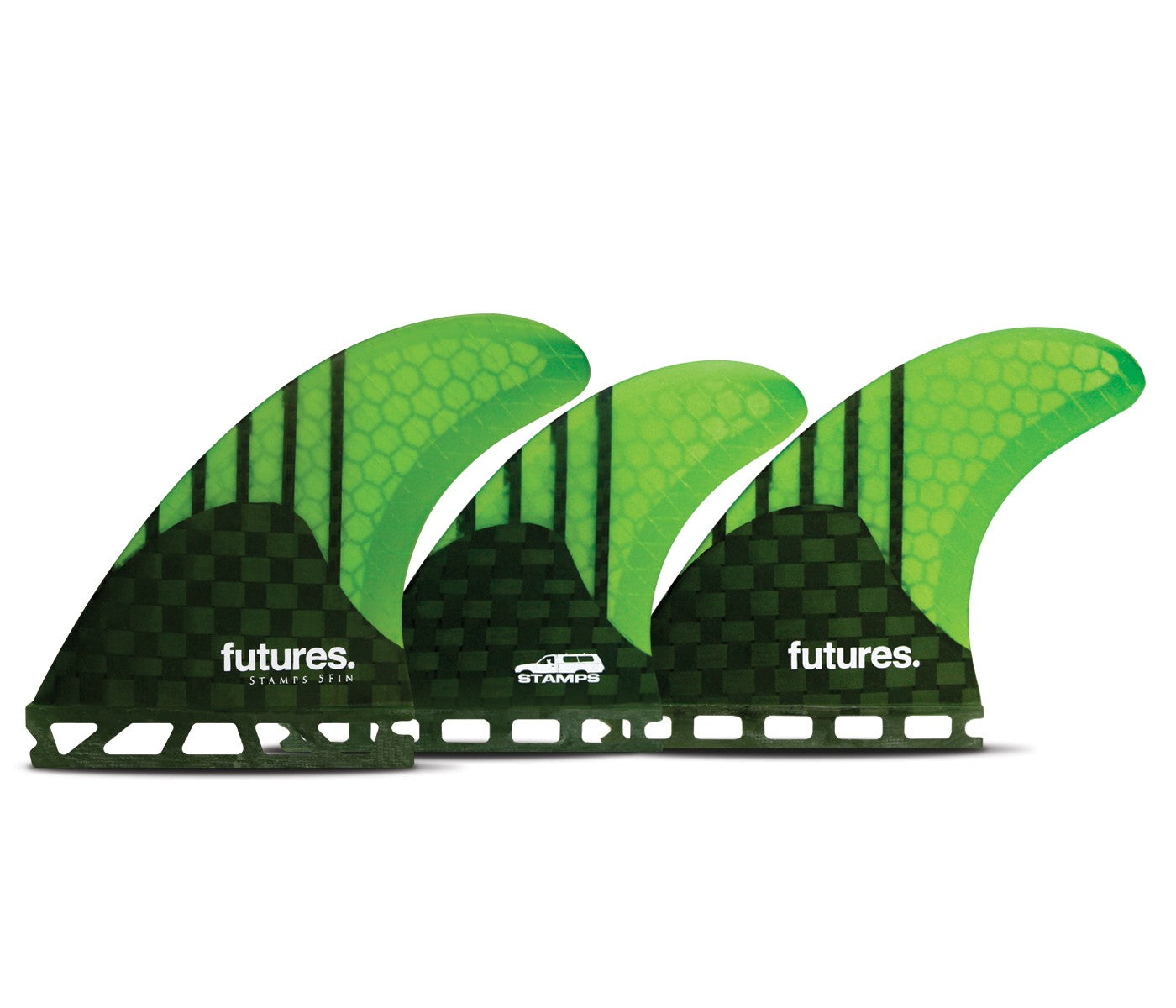 FUTURES STAMPS V2 MEDIUM GENERATION 5 FIN CARBON/NEON GREEN