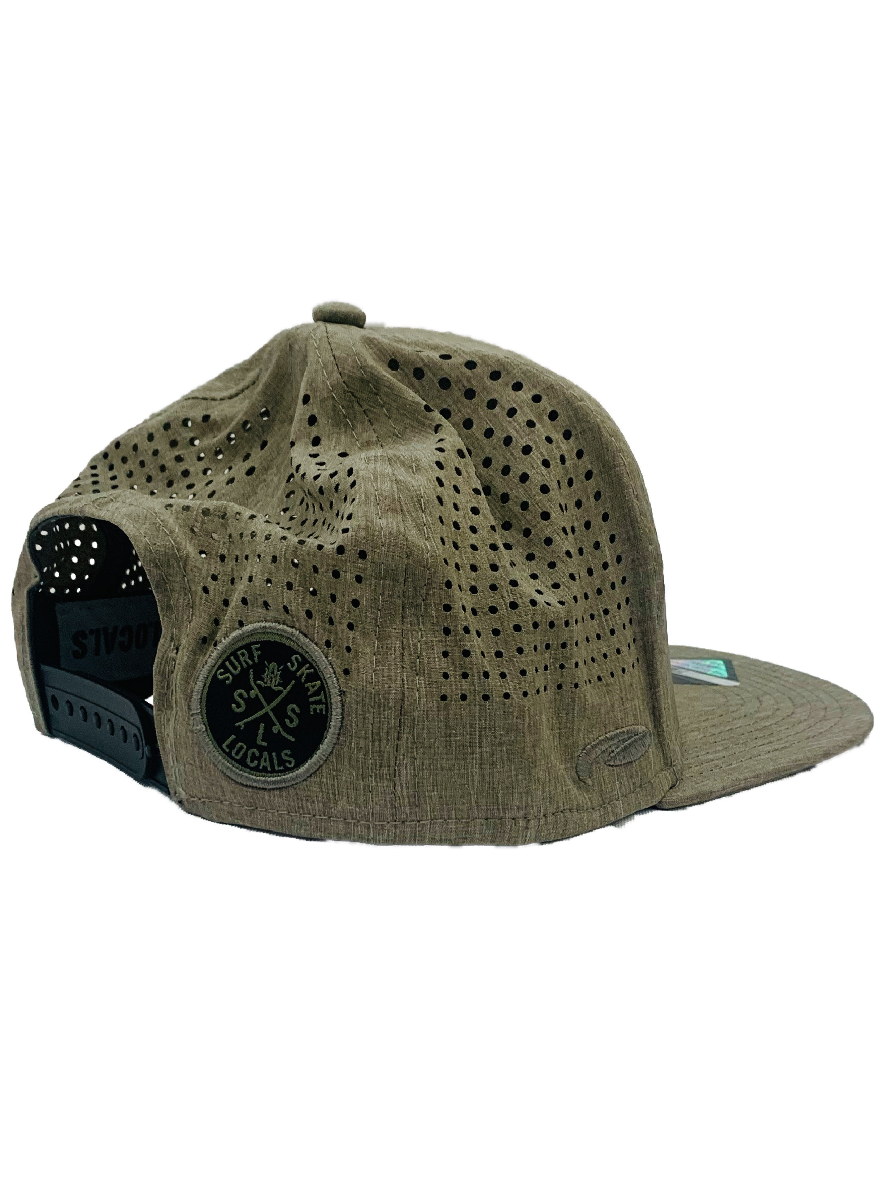 LOCALS 3D LOGO TRITECH WICKING SPF30 4-WAY STRETCH SNAPBACK HTR. OLIVE