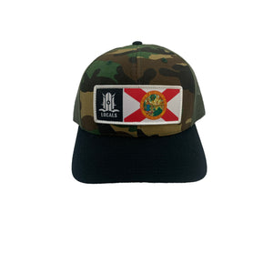 FLORIDA LOCALS CURVED BRIM TRUCKER CAMO/BLACK/OLIVE