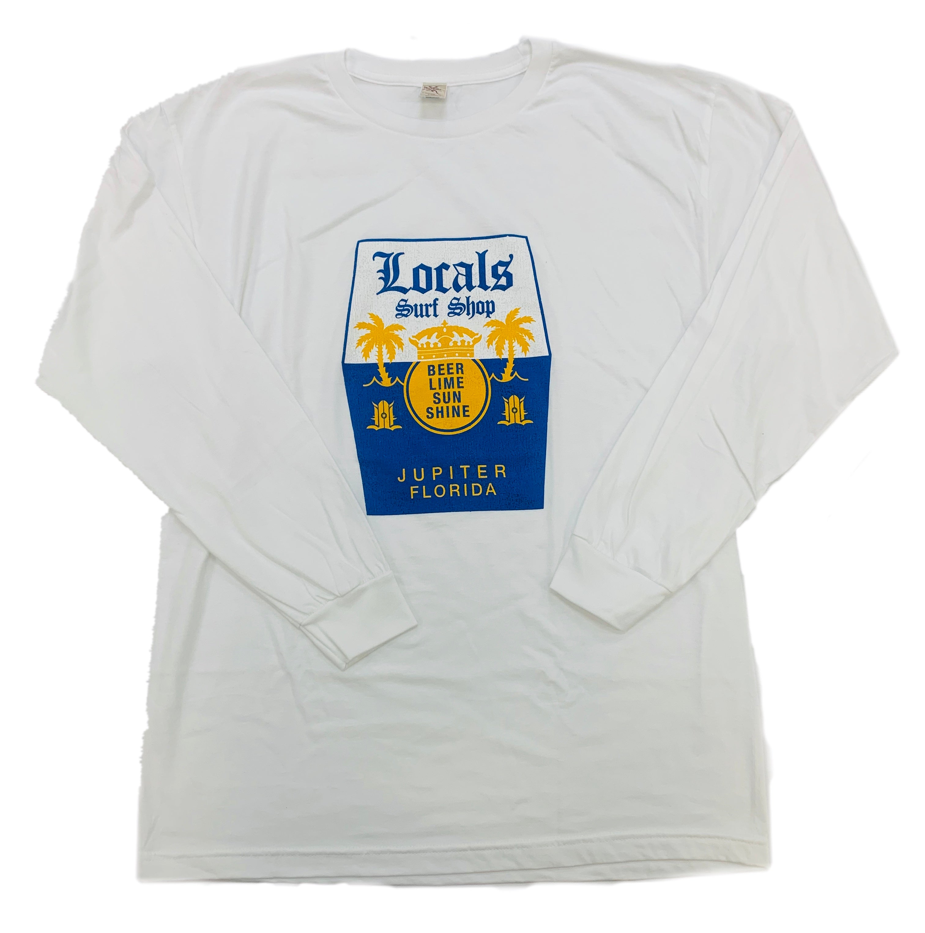 LOCALS MENS BEER N LIME FITTED L/S TEE WHITE