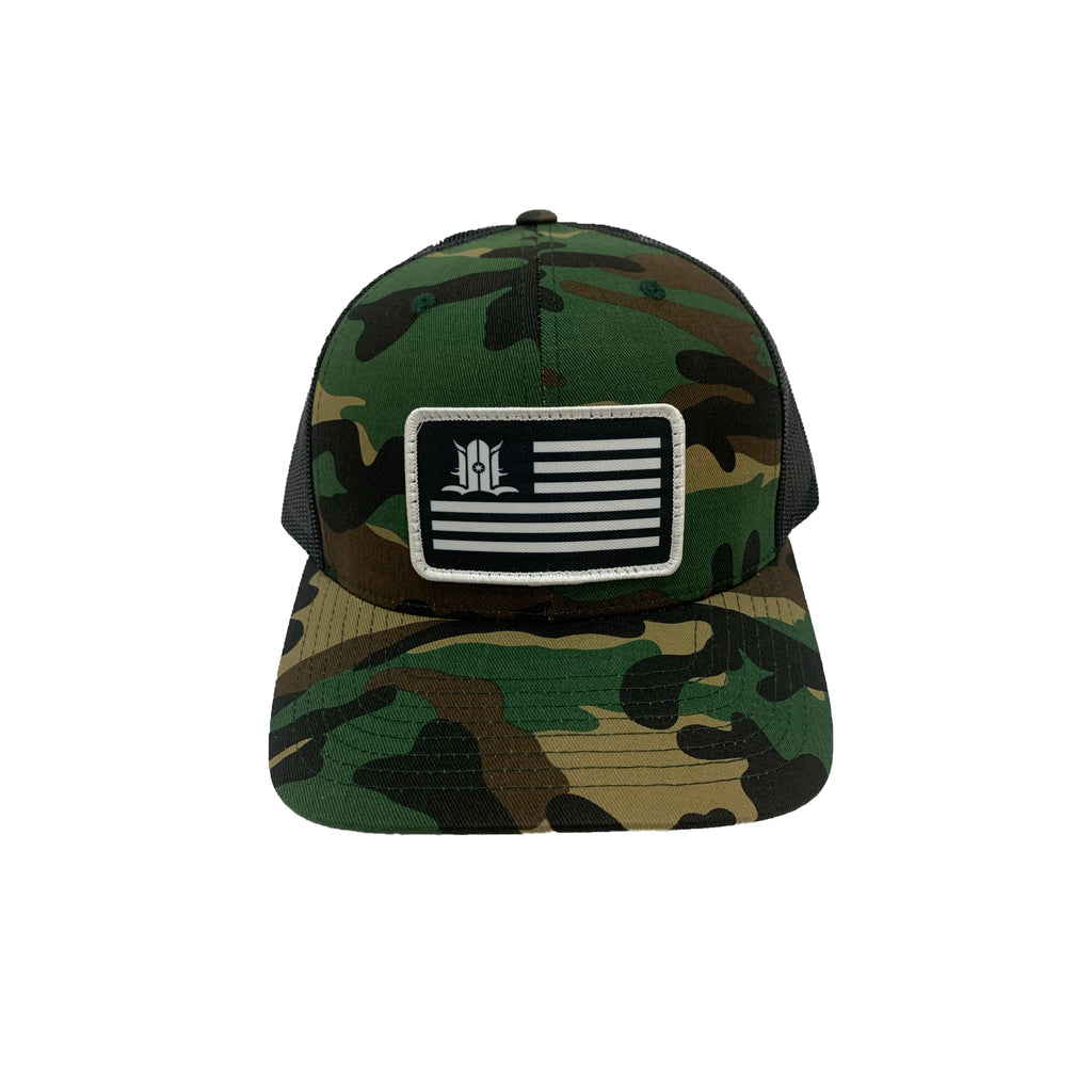 LOCALS FLAG CURVED BRIM TRUCKER CAMO