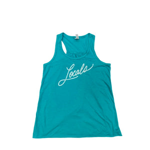 LOCALS GIRLS CURSIVE TANK TEAL