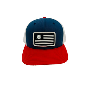 LOCALS FLAG CURVED BRIM TRUCKER NAVY/WHITE/RED