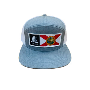 FLORIDA LOCALS 7 PANEL TRUCKER H. GREY WHITE MESH