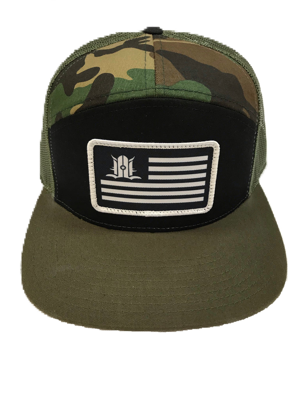 LOCALS FLAG 7 PANEL FLAT BILL TRUCKER CAMO/BLACK
