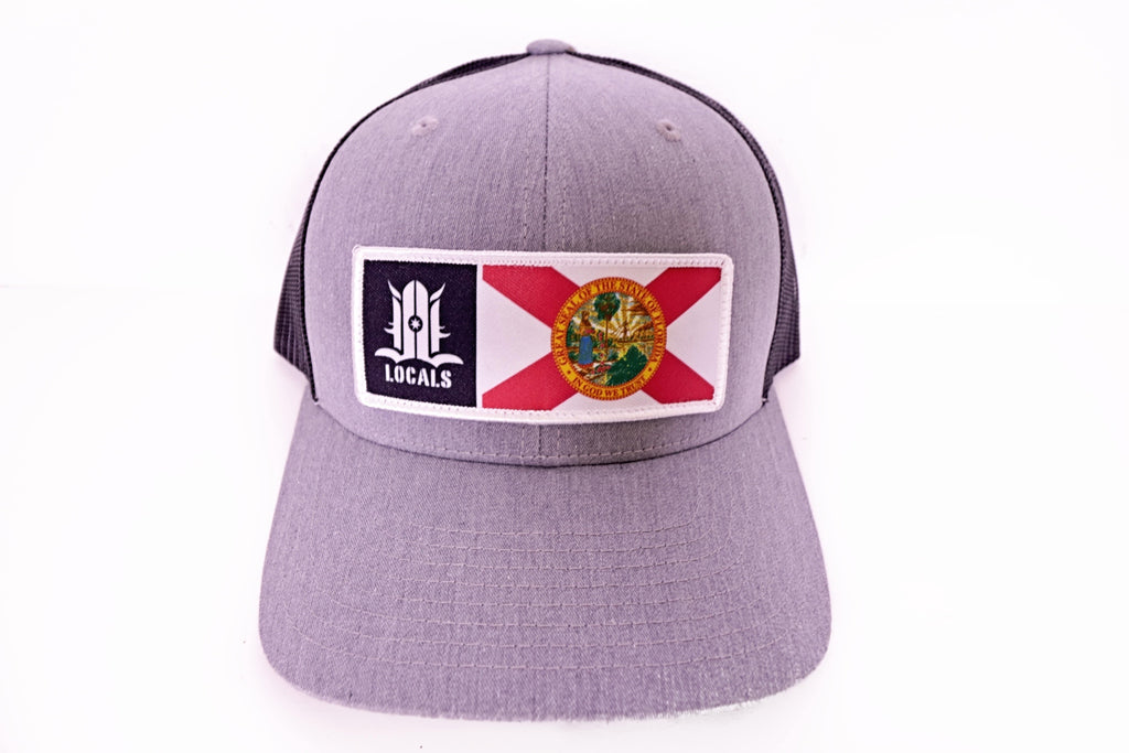 FLORIDA LOCALS CURVED BRIM TRUCKER GREY