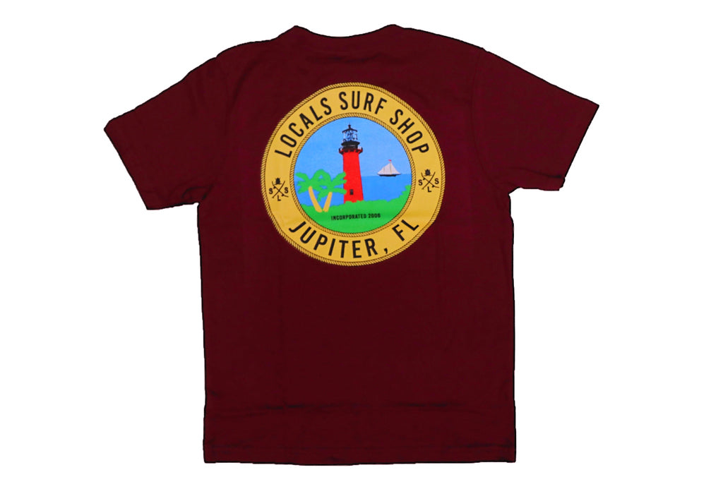 LOCALS TOJ LIGHTHOUSE BOYS TEE CARDINAL
