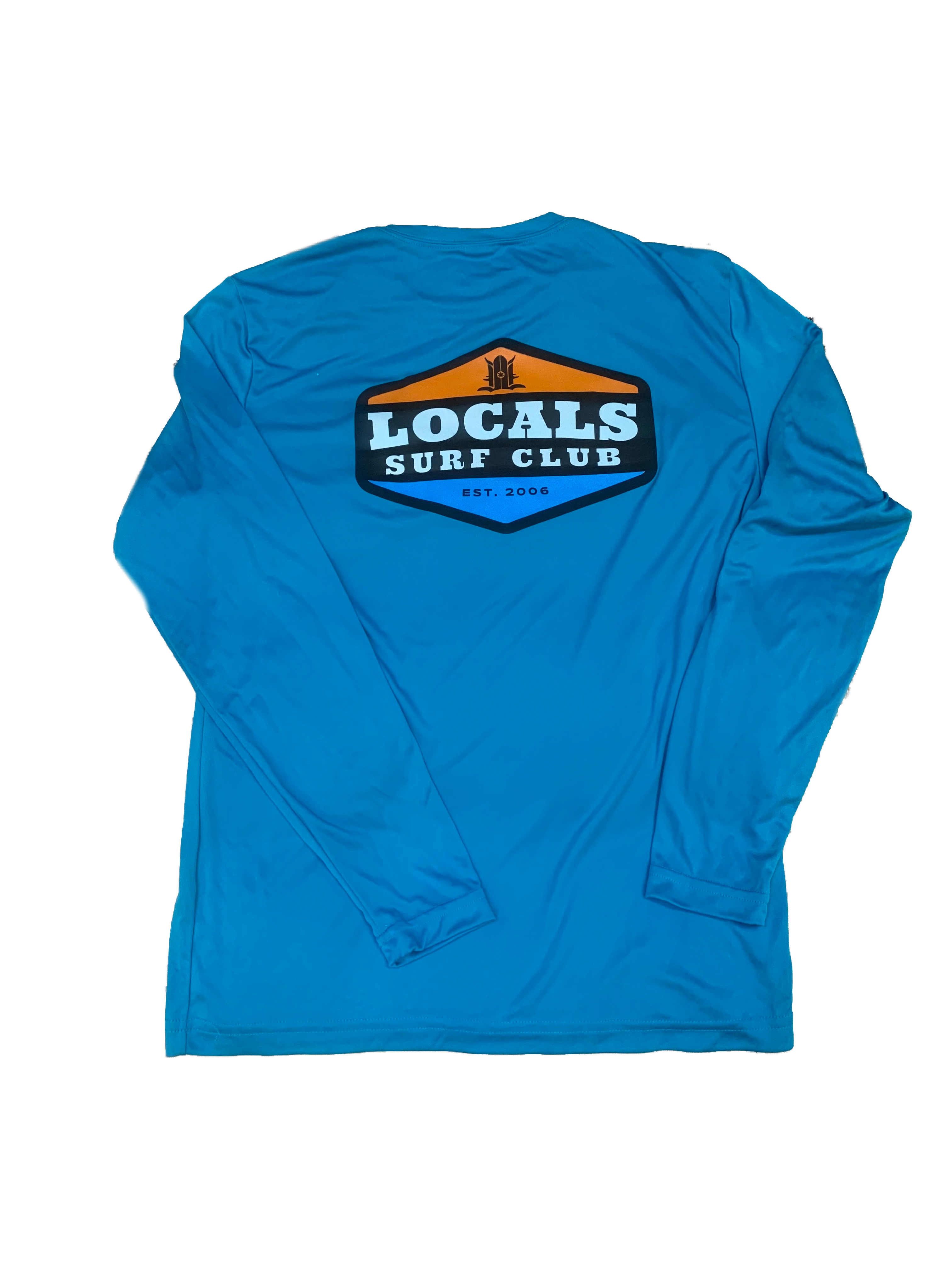 LOCALS SURF CLUB PATCH L/S PERFORMANCE TEE TURQUOISE