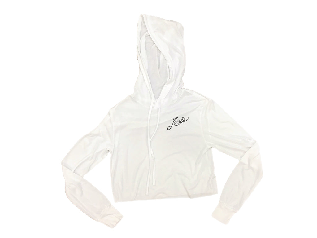LOCALS WOMENS CURSIVE LT WEIGHT CROP HOODIE WHITE