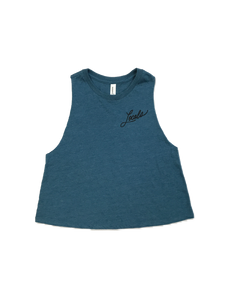 LOCALS WOMENS CURSIVE RACERBACK CROPPED TANK HTR TEAL
