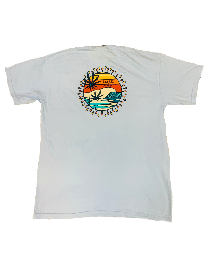 LOCALS SUNNY DAYS 100% COTTON VINTAGE WASH TEE CHAMBRAY