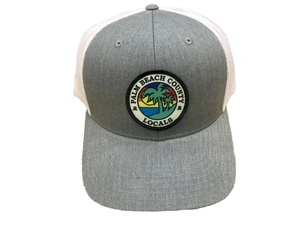 PALM BEACH COUNTY LOCALS CURVED BILL TRUCKER HTR. GREY/WHITE