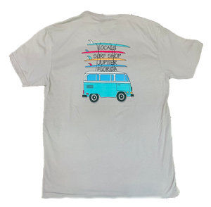 LOCALS TRAVELING BUS MENS SUEDED CREW TEE LI. GREY