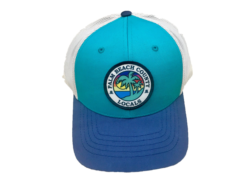 PALM BEACH COUNTY LOCALS KIDS CURVED BILL TRUCKER TEAL/BIRCH/NAVY