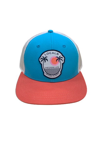 LOCALS GOOD LIFE PALMS CURVED BRIM LOW PROFILE TRUCKER TEAL/CORAL/WHITE