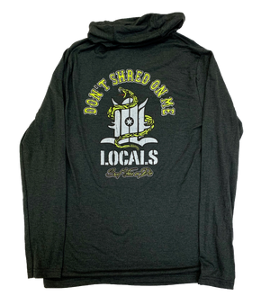 LOCALS MENS DON'T SHRED HOODED L/S TRI BLEND TEE BLACK FROST