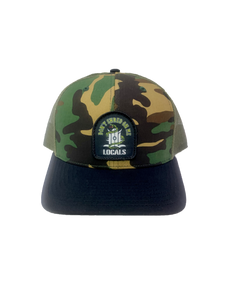 LOCALS DON'T SHRED ON ME CURVED BRIM TRUCKER CAMO/LODEN/BLACK