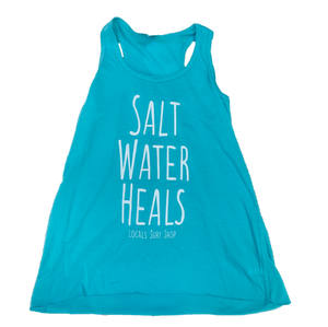 LOCALS GIRLS SALT WATER HEALS FLOWY RACER BACK TANK TEAL