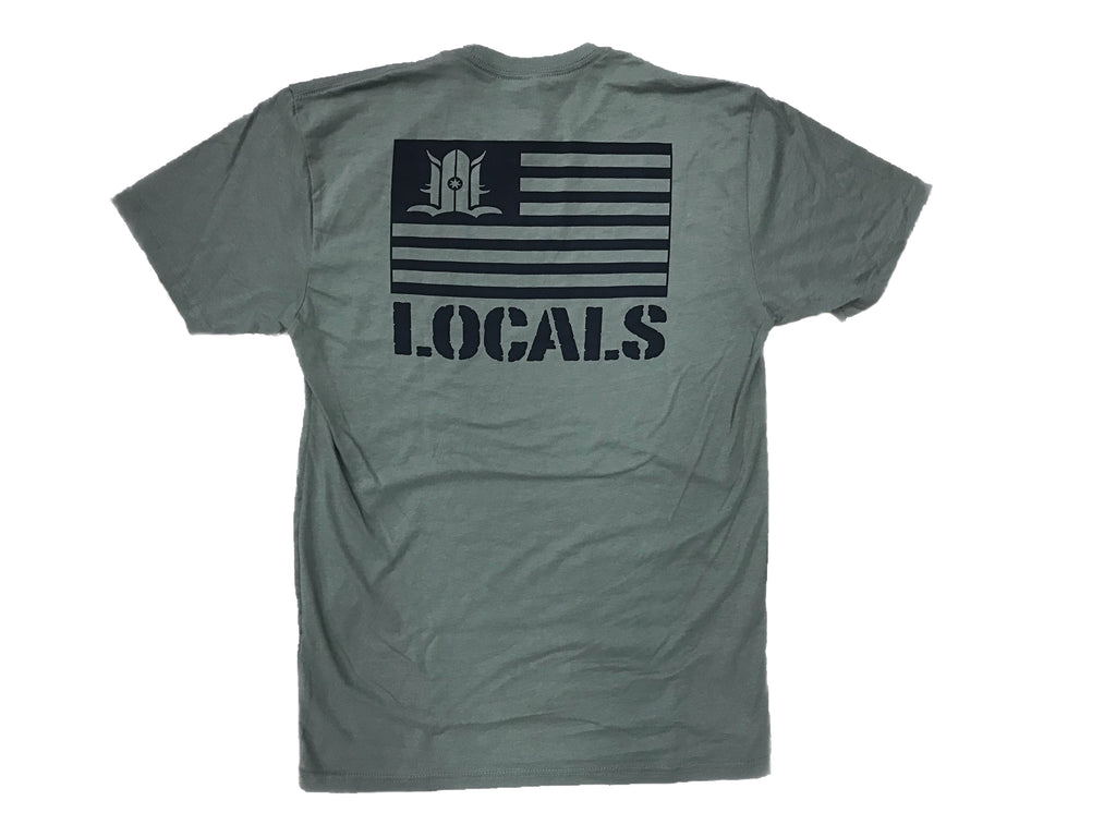 LOCALS FLAG SUEDED CREW MILITARY GREEN