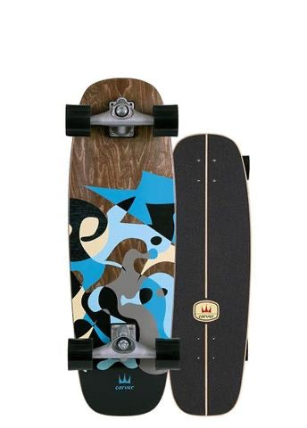 "CARVER C7 30"" BLUE RAY SURFSKATE COMPLETE"