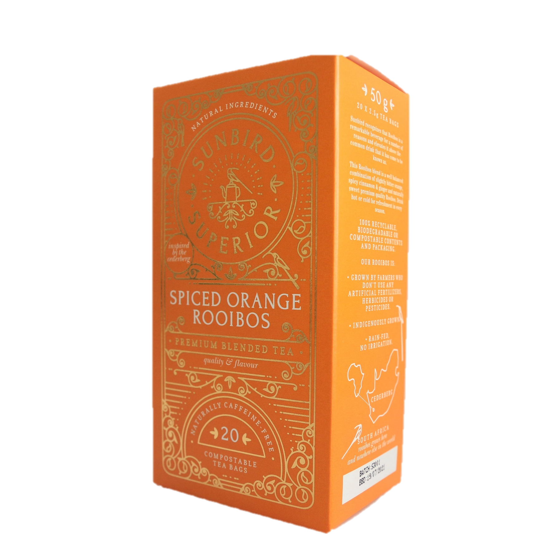 Sunbird Superior - Spiced Orange Rooibos - 20 Compostable Teabags - 50g