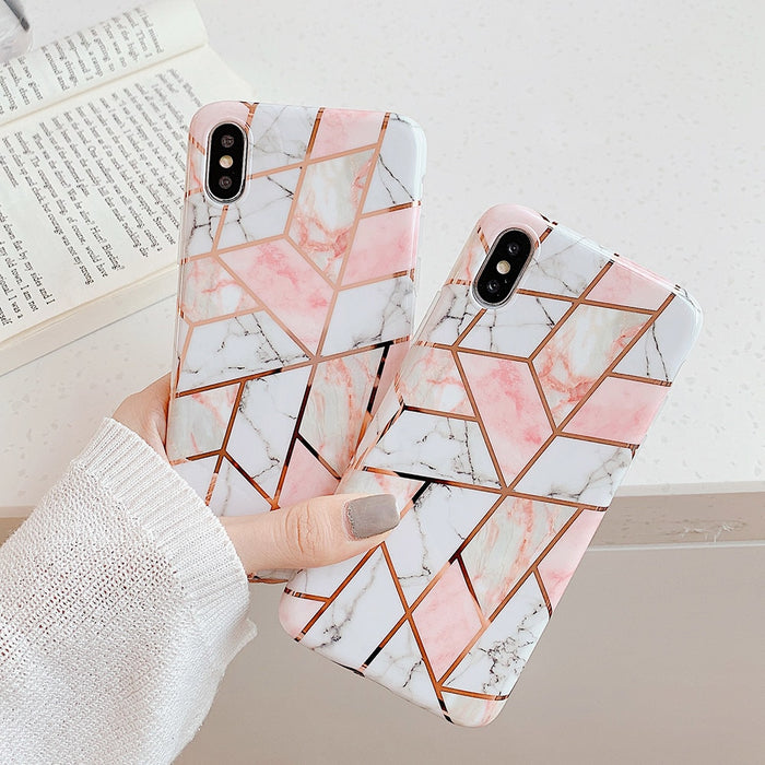 iPhone 11 Gold Geometric Marble Lux Cases