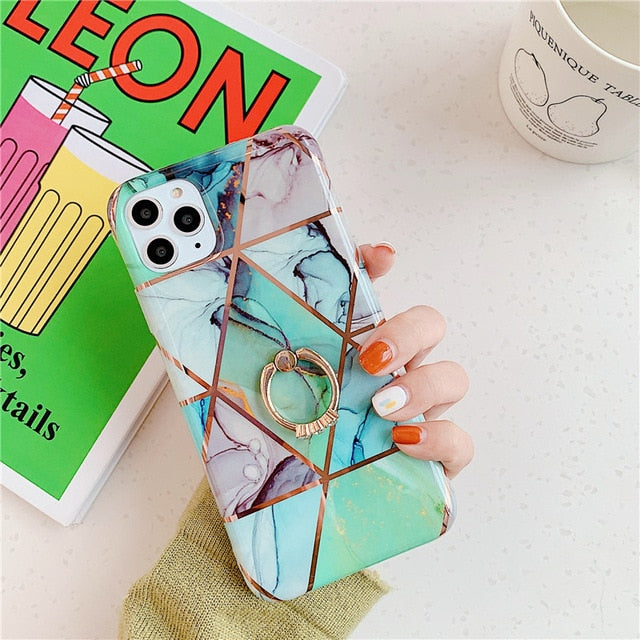 iPhone 11 Finger Ring Marble Geometric Case