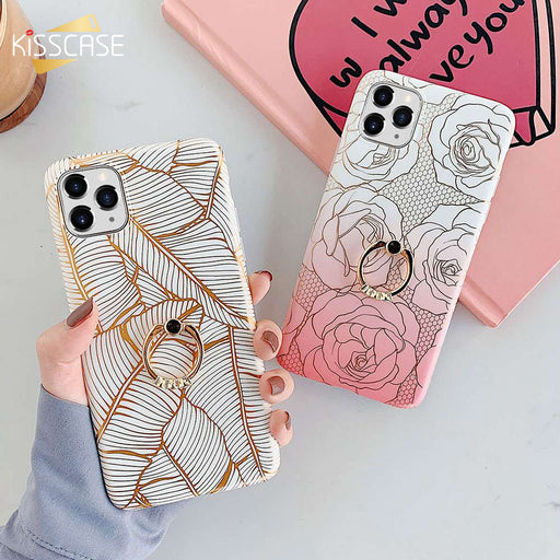 iPhone 11 Luxury Gold Plating Rose Flower Leaf Soft Plastic Case