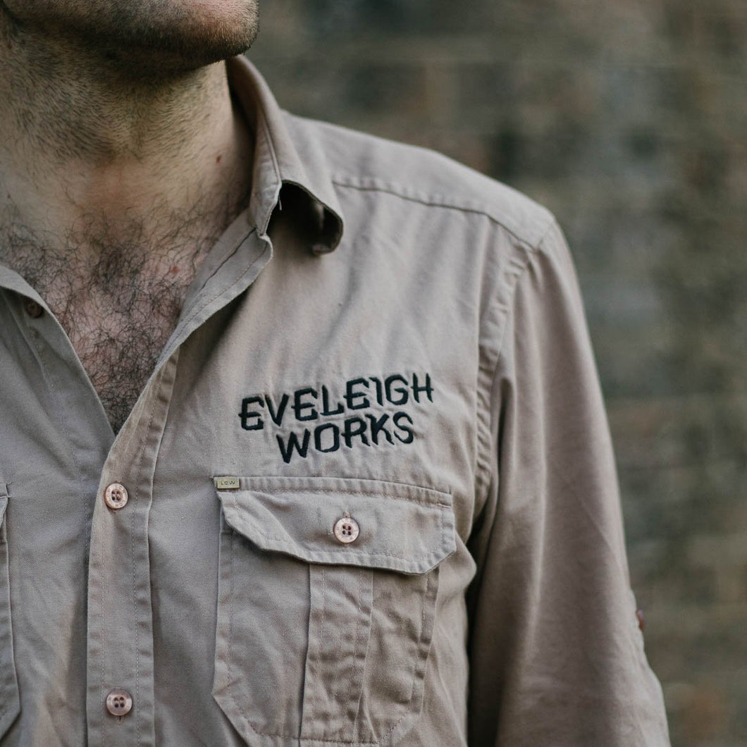 Embroidered Cotton Workshirt Tan