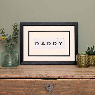 Vintage Playing Cards DADDY Word Art Black Picture Frame