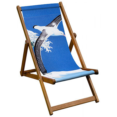 Folding Hardwood Deckchair with Image of a Albatros Flying Against a Blue Sky
