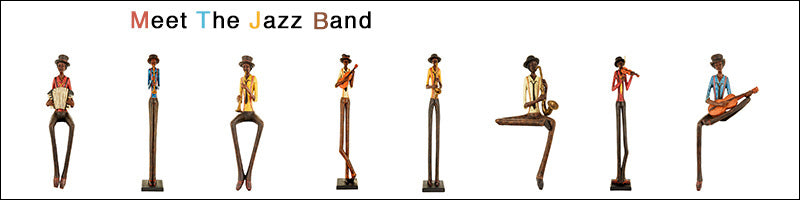 Large Figurine Ornaments of Jazz Band Musicians