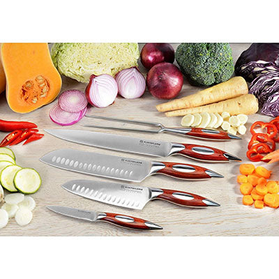 FLINT AND FLAME Five Piece 'Gourmet' Kitchen Knife Set in a Wooden Presentation Box
