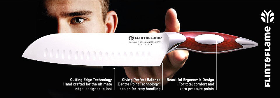 Flint and Flame Luxury, Premium Quality Professional Chef Knives and Knife Sets for Superb Food preparation and Cooking in Your Kitchen