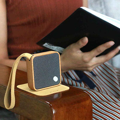 GINGKO MI Square Portable Rechargeable Bluetooth Speaker in Bamboo, Cherry or Walnut Wood