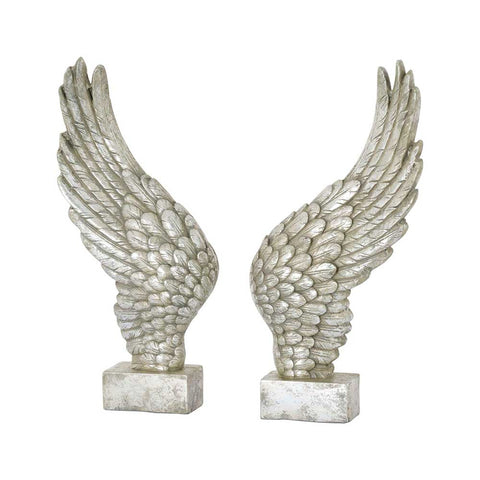 Hillier Home Large Freestanding Decorative Antique Silver Ornamental Angel Wings